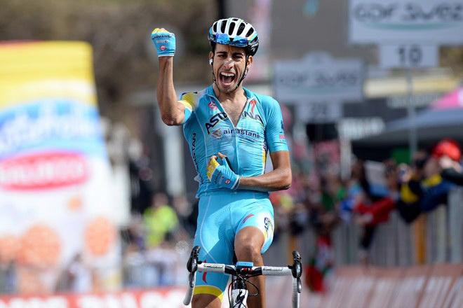 Italian Fabio Aru of Astana Pro Team won the 15th stage oftheprestigious  Girod Italiabicycle race on May 25. 64c343a38