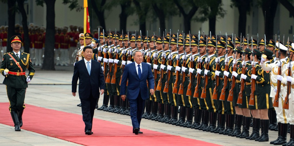 President of Kazakhstan  Nursultan Nazarbayev (L) and President of China Xi Jinping in Beijing on Aug. 31.