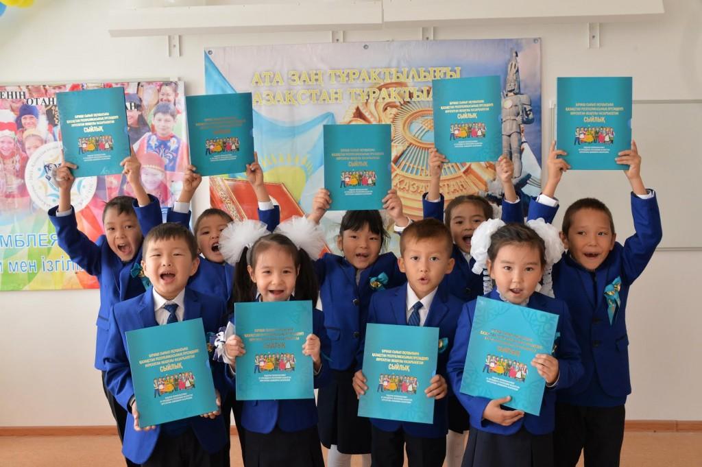 First graders at Astana English School. Photo: Igor Burgandinov for Kazpravda
