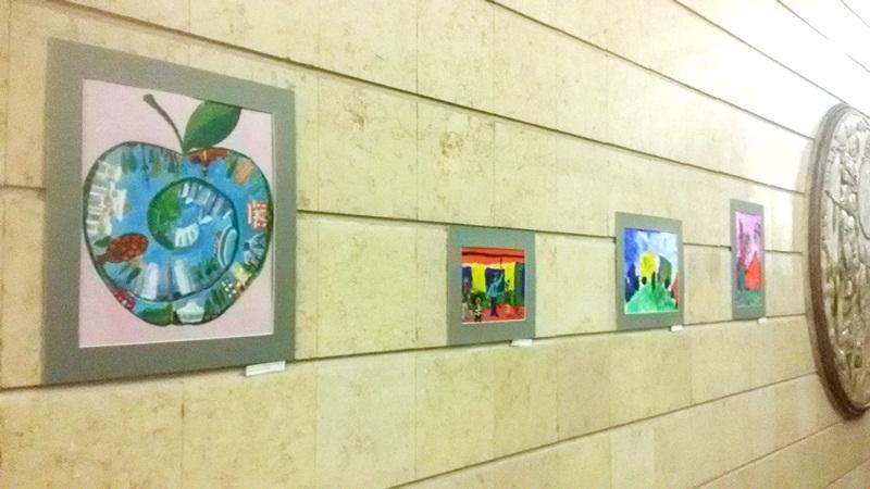 Artwork by children on display in Almaty's Auezov Theatre metro station. Photo: inform.kz