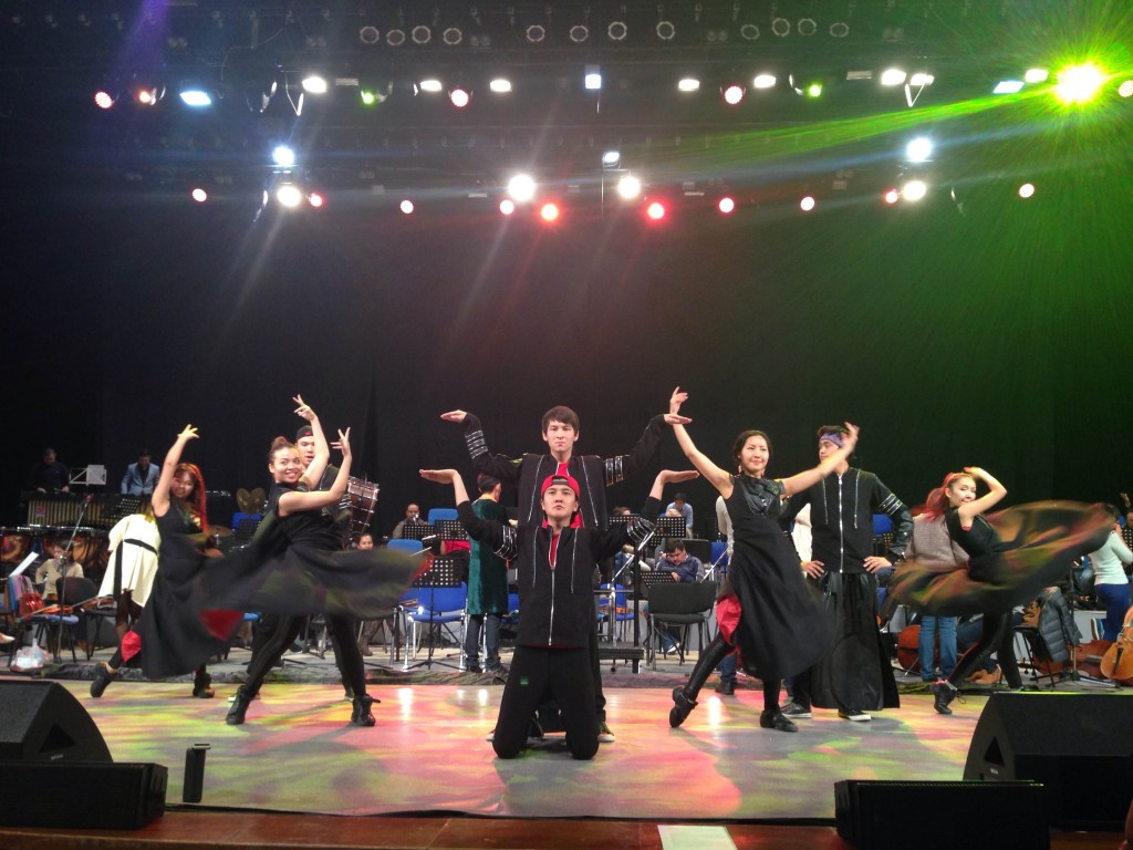 "Rehearsals for the Children's Philharmonic at Sept.30 rehearsal of children's opera ""Kambak Shal"" at Astana Congress Hall"