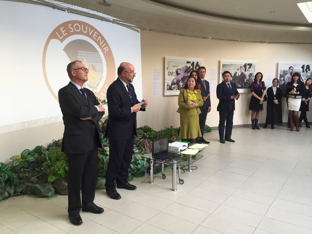 """President of Souvenir Français Serge Barcellini (L), Ambassador of France to Kazakhstan Francis Etienne, Director Umutkan Manualbayeva, Counselor for Culture at the French Embassy Guillaume Kasperski and Chair of the Alliance Française in Astana at the opening of """"14–18"""" in Astana."""" Photo credit: Lise Barcellini."""