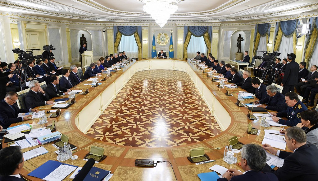 President Nursultan Nazarbayev addresses an enlarged government meeting Nov. 18.