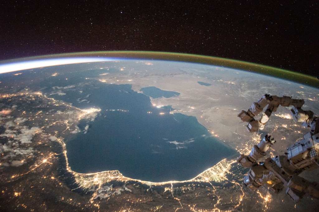 A night view of the Caspian Sea. Photo: Wikimedia commons