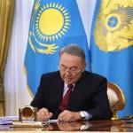 President Nursultan Nazarbayev signs Kazakhstan's new Criminal Procedures Code into law Oct. 31 at the Akorda.