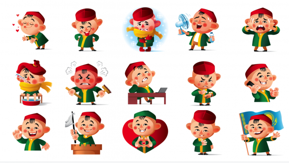 national emoji stickers express feelings with kazakh characters