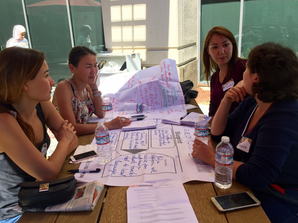 Participants from Kazakhstan at a coaching session with mentor Dana Kismetova (on the left). Photo credit: TechWomen