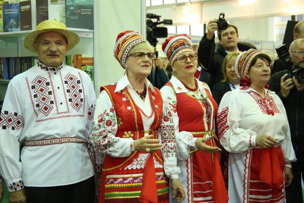 Belarus folk ensemble giving performance at 2016 Eurasian Book Fair