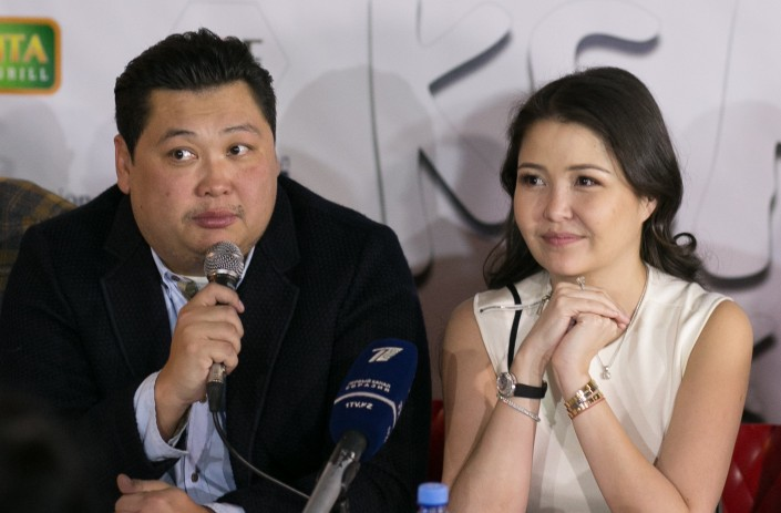 Askar Uzabayev and Asel Sadvakasova. Photo credit-Tengrinews.kz