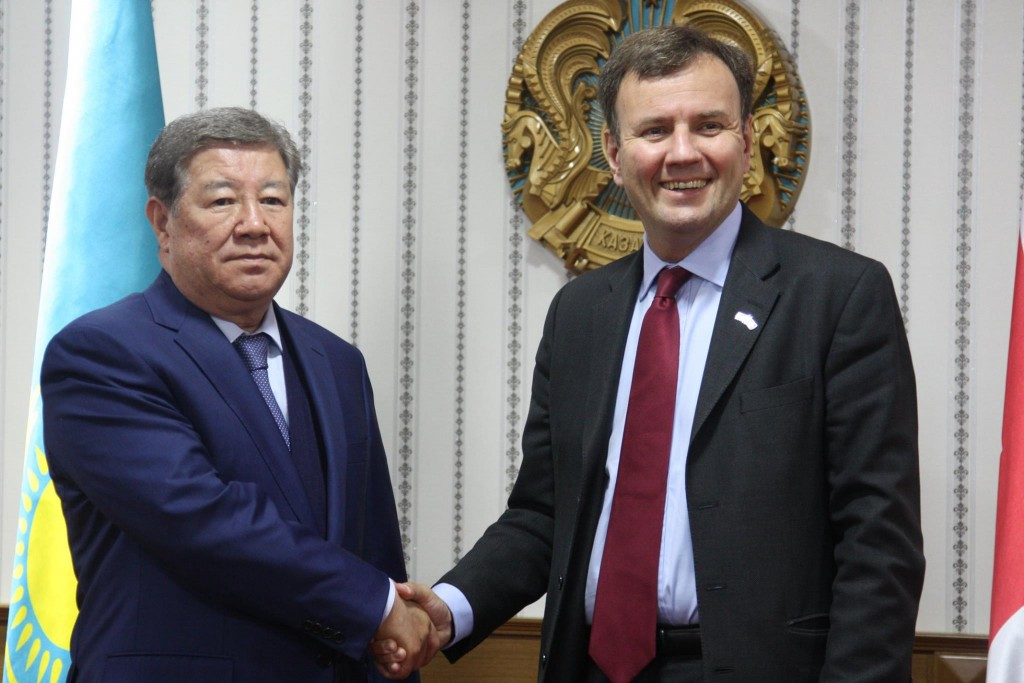 Greg Hands and Akhmetzhan Yessimov -- UK to provide $1.4 billion financial support to boost export to Kazakhstan