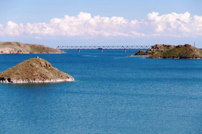 Kapchagay reservoir view from the Almaty-Taldykorgan road