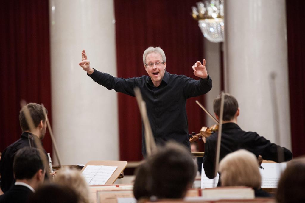 Photo credit: Kurmangazy Kazakh National conservatory . Russian conductor Fyodor Lednyoev.