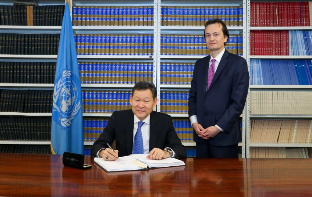 Permanent Representative of Kazakhstan to UN Kairat Umarov signs Treaty on Prohibition of Nuclear Weapons