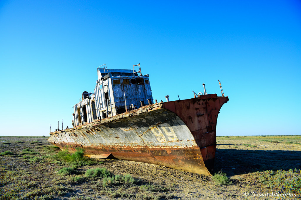 Aral Sea ship graveyard near Aralsk, Kazakhstan. Photo credit: Zhanat Aithozhin.
