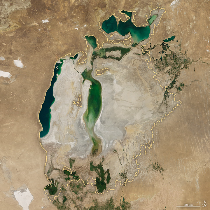 Aral Sea, Aug. 22, 2017. Photo credit: NASA.