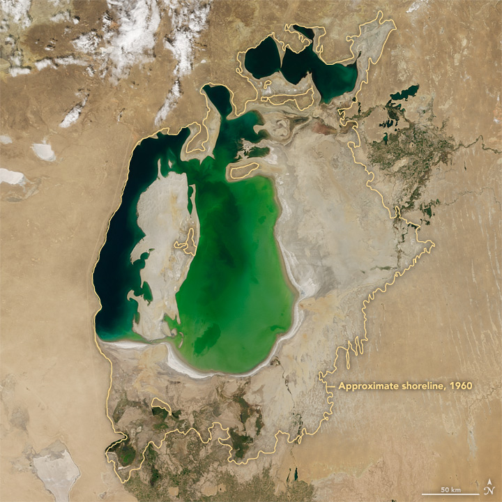 Aral Sea, Aug. 25, 2000. Photo credit: NASA.