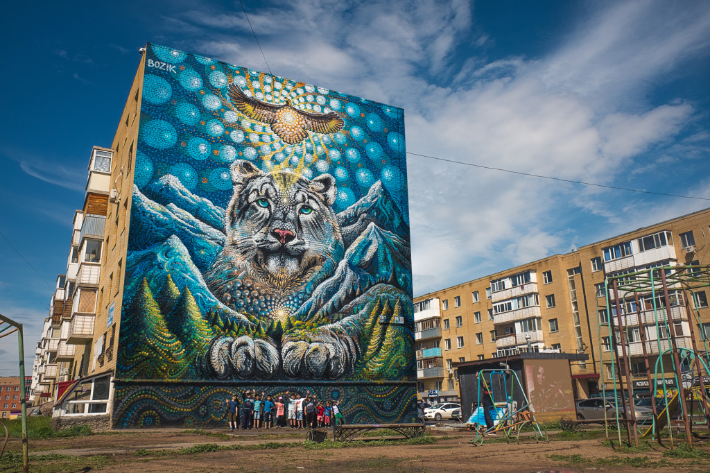 Snow leopard mural at 187 Street