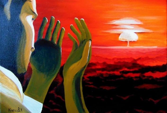 Explosion, a painting by Karipbek Kuyukov