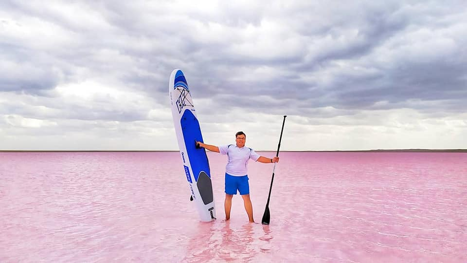 Kazakhstan's social media sensation and pink-coloured lake