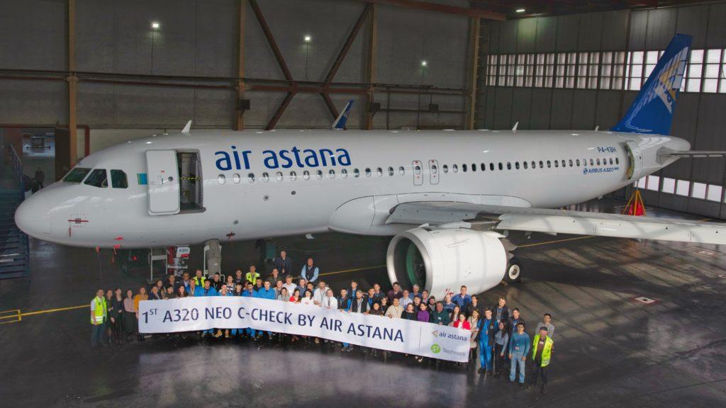 "1st c check Air Astana 1024x576 - Авиакомпания ""Эйр Астана"" завершает первый Airbus А320пео с-Check в Алматы базовый аэропорт"
